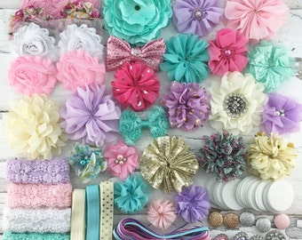 DIY-Headband Kit 26 Headbands- Make Your Own Headbands- Baby Shower Headband Station, PASTELS