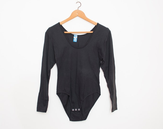 NOS vintage 90s black bodysuit top long sleeve size  S