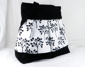 Slouch Bag, Large Purse, Black and White, Tree Fabric, Robert Kaufman, Diaper Bag, Overnight Carry All