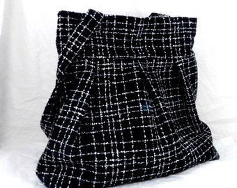 Slouch Bag, Large Purse, Black and White, Modern Fabric, Diaper Bag, Overnight Carry All, Handmade in Canada