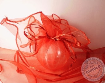 5 RED Organza Wraps - Party favors, jewelry, gifts and much, much more