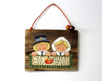 Barn Wood Pilgrims, Give Thanks Sign,  Autumn Sign, Pilgrims, Hand Painted on Barn Wood, Rustic Barn Wood Sign, Fall Sign, Folk Art Pilgrims