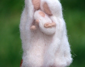 Needle felted waldorf inspired Nativity Christmas ornament Holy family