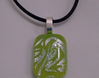 Silver and lime green fused glass pendant