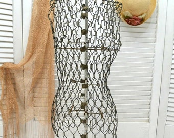Vintage Wire Dress Form with Stand - dressmaker tool