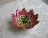 Vintage Flower Pottery Dish Bowl Italy, Handmade Small Italian Floral Ceramic Ring Dish, Bohemian Cottage Naturalist