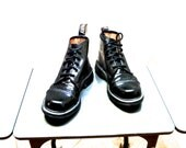 Vintage Doc Martens 6-Eye Black Leather Combat Boots with Toe Caps Air Wair with Bouncing Soles Made In England Women's Size 7