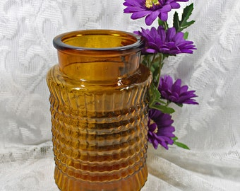 Vintage Home Decor, Dark Amber Vintage Glass Vase or Apothecary Jar
