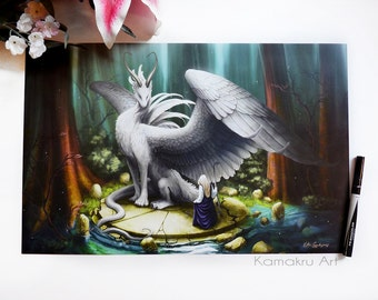 """White Dragon Art Print 