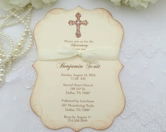 Baptism Invitations Christening Invitations Invite Cross Printed Set of 10