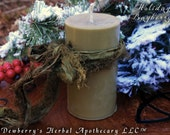 BAYBERRY, Pure Wax Pillar Candle Handcrafted In The Olde New England Tradition.  Yuletide, Winter Solstice Magick, Prosperity, Abundance