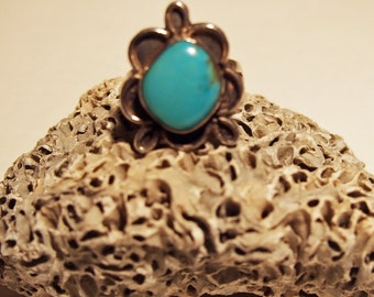 Vintage Turquoise Vintage Ring Sterling Silver Southwestern Style Western Style Ladies Ring Girls Ring Old Turquoise Ring Handmade Jewelry