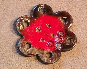 Handcrafted Enamel Button: Giant Red Flower 2015 B-32