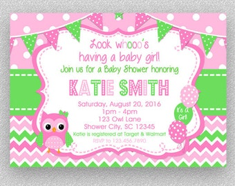 Owl Baby Shower Invitation, Girl Baby Shower Invitation ,  Baby Shower Invitations, Owl Baby Shower, Chevron Owl Invitations