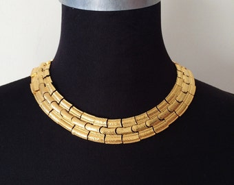90s Chunky Gold Chain Necklace- Choker, Short Bling Flashy 80s Jewelry