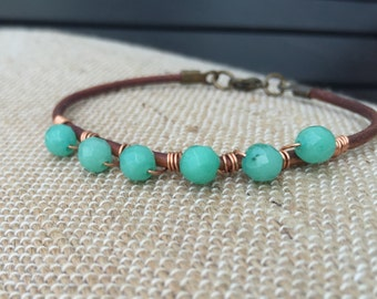 Malaysian Jade and Leather Bracelet