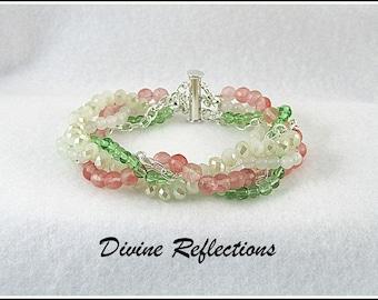 White, Pink, Green Gemstone Bracelet, White Jade,Pink Cherry Quartz, Peridot