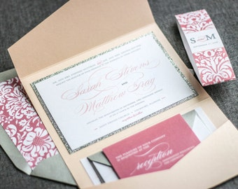 "Blush Wedding Invitations, Silver Glitter Wedding Invitations, Custom Invitation Suite, Blush Pink Invitations - ""Classic Romance"" PF-1L"