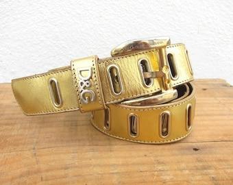 90s Dolce and Gabbana Belt Wrap Around Gold Leather OSFM