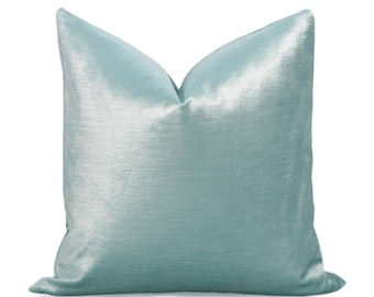 Glisten Velvet Pillow Cover - Sky Blue - Light Blue Pillow - Baby Blue Pillow - Velvet Pillow - Decorative Pillow - Designer Pillow