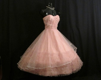 SALE Vintage 1950's 50s STRAPLESS Pink Silver Tulle Metallic Party Prom Wedding Bridal Dress Gown