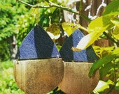 Denim Earrings- gold painted Pear shaped wood denim Jeans Earrings