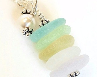 Beach Glass Necklace, Sea Glass Jewelry, Pearl Jewelry, GENUINE Sea Glass Necklace In Pastels, Seaglass Necklace, Beach Necklace
