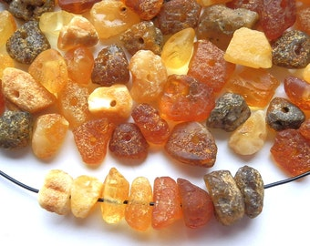 100pcs - Natural Baltic amber beads, raw, untreated beads, cherry, honey, yellow amber,  6-9 mm at widest part (#103)