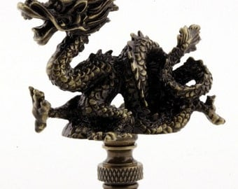 LAMP FINIAL dragon antique brass