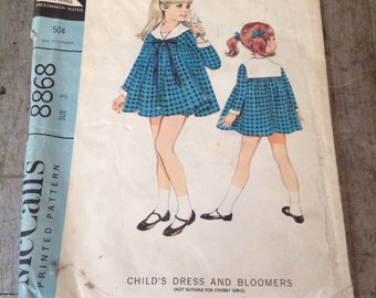 Vintage McCall's Sewing Pattern 8868 Girls' Dress and Bloomers Size 3