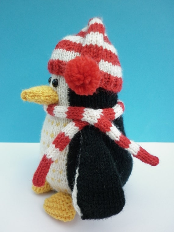 Knitted Toy Penguin Pattern - Plumley the Penguin from LynneRoweTheWoolnest o...