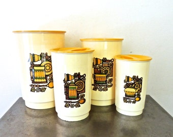 vintage canister set - 1950s-60s mid century canisters set of 4