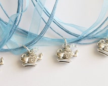 Tea Party Party Favor Necklace, Sky Blue Ribbon Necklace, Children's Jewelry, Princess Party, Princess Favors, Little Girl, Teapot Favors