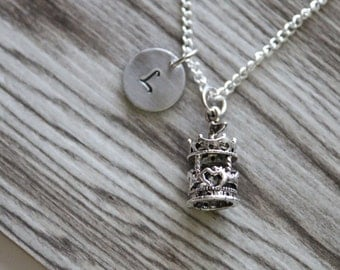 Carousel Necklace Silver Plated, Personalized Initial Necklace, Gift for Girls, Circus Necklace, Carnival