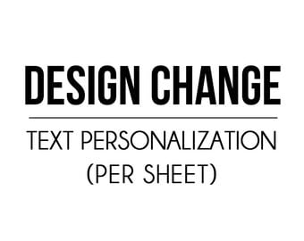Design Change - Text Personalization (per sheet) - Petite Party Studio