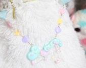 Fairy Kei Transparent Rainbow Pony Necklace