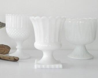 Vintage Milk Glass Compote Vase Vintage Milk Glass Decor Wedding Milk Glass Event Decor Westmoreland Fenton Milk Glass