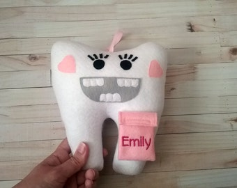 Personalized Girl Tooth Fairy Pillow - Tooth Shaped Pillow - Monogrammed Tooth Pillow