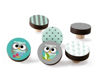 Owl  knobs for Kids Nursery Room bedding, woodland drawer pulls Boys room decor, Mix and Match set of 4-12 knobs