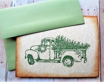 Rustic Christmas Cards Bringing Home the Tree Country Style