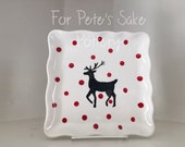 Ruffled edge, hand painted, ceramic deer plate