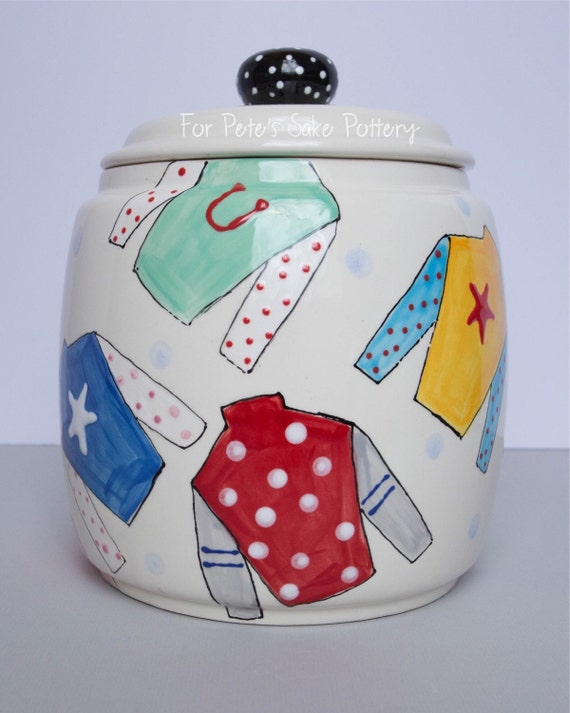 Jockey silk, horse lover, derby theme, hand painted, ceramic, canister, cookie jar