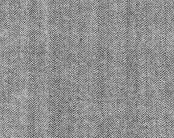 Gray Herringbone Fabric Shetland Flannel Herringbone Fabric in Grey by Robert Kaufman Fabrics - 1 Yard