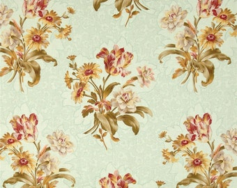 SALE Floral Fabric Odessa Floral Bouquets in Light Green by RJR Fabrics - 1 Yard