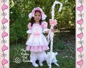 Halloween Costume Toddler-Girls Little Bo Peep OOC-Pageant, Pink Dress, Corset Apron, Bloomer, Bonnet, Sheep,  Shepard's Hook, size 18 mo-8