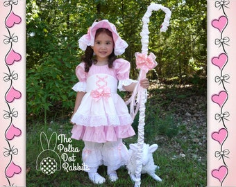 Halloween Costume Toddler-Girls Pink Little Bo Peep Ruffle Dress, Corset Apron, Lace Bloomer, Bonnet, Shepard's Hook, Little Lamb Stuffie