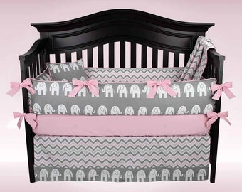 ABIGAIL 5 pc Crib Bedding Set, Gray Elephant Baby Bedding, Gray and Pink Chevron Nursery Bedding