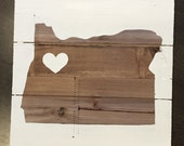 State Sign on Wood With Heart