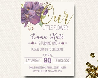 Spring Birthday Invitation Our Little Flower Invite Glitter Purple Watercolor DIY Printable