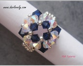 Beaded Ring PDF Pattern - Swarovski Blue Crystal Square Ring (RG173) - Beading Jewelry PDF Tutorial (Instant Download)